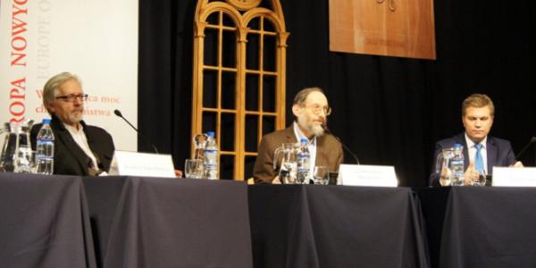 """Dyskusja """"Chrześcijanie w oczach innych"""" – Andrzej Saramowicz, Stanisław Krajewski i Marek Zając (fot. Michał Karski)"""
