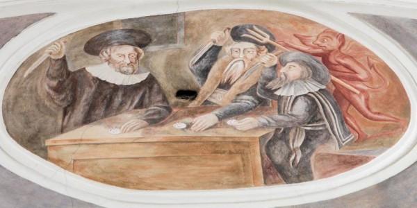 """Na sklepieniu są freski z XVIII w., autorstwa franciszkanina Adama Swacha. Na nich sceny profanacji: brodate postaci kłują Hostię nożem. """"Kościół powstał w latach 1702-1704, na miejscu kamien"""