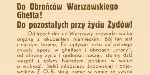Powstanie Warszawskie - odezwa Żydowskiej Organizacji Bojowej do Żydów.