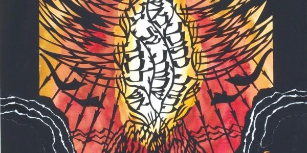 """Fragment wycinanki """"Tora ogień"""" z wycinanek/kolaży inspirowanych dramatem Sz. An-skiego """"Dybuk"""""""