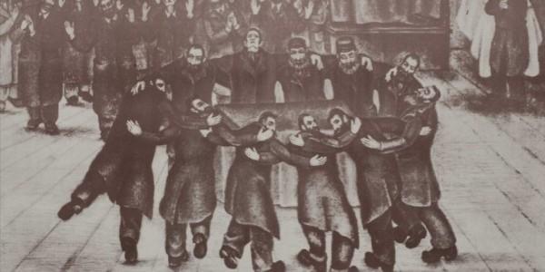 """""""Taniec chasydów"""", Herszel Danielewicz (1882–1941), litografia  /  Zbiory ŻIH"""
