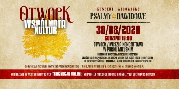 "Koncert w ramach projektu ""Otwock - wspólnota kultur - Psalmy Dawida""  - plakat"