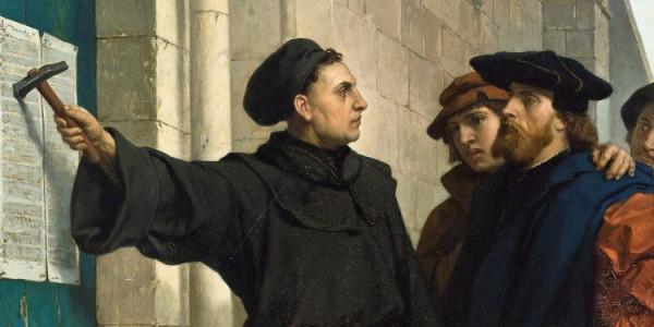 Marcin Luter przybijający do drzwi kościoła 95 tez / Ferdinand Pauwels - flickr