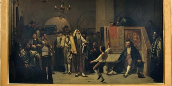 Obraz zatytułowany Simchat Tora (heb. Radość Tory) namalowany został przez Tadeusza Popiela pod koniec XIX w.  Autor, znany z akademickich przedstawień o tematyce religijnej i historycznej uk