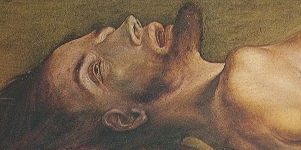 """Fragment obrazu """"Martwy Chrystus"""" Hansa Holbeina, 1521-1522"""