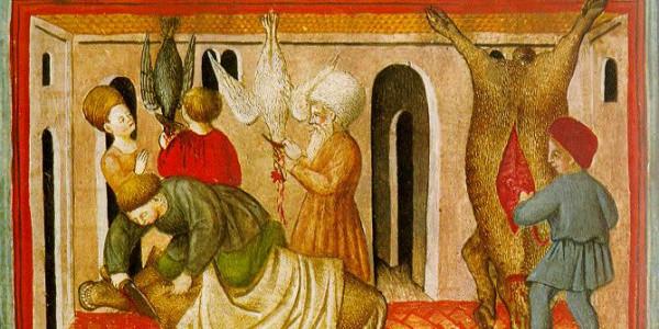 Grafika: Ilustracja z XV wieku przedstawiająca szechitę – żydowski ubój rytualny/Wikipedia