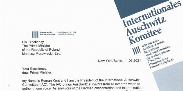 Prezydent Międzynarodowego Komitetu Oświęcimskiego  do premiera Morawieckiego
