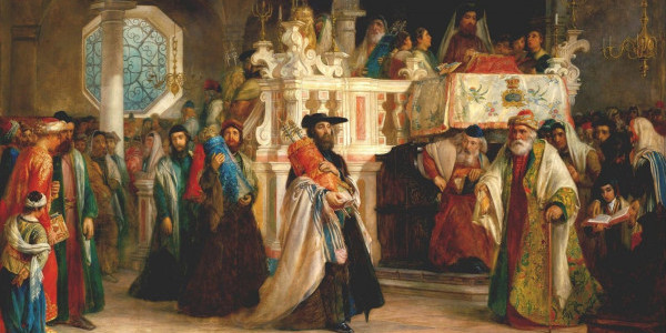 """""""The Feast of the Rejoicing of the Law at the Synagogue in Leghorn"""" (Solomon Alexander Hart/The Jewish Museum)"""