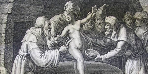Niemiecka rycina z 1627 przedstawiająca rzekomy mord rytualny