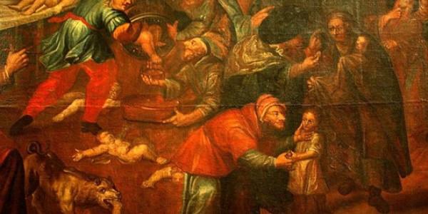"""Mord rytualny – obraz olejny Karola de Prevot (ok. 1670–1737) należący do cyklu """"Martyrologium Romanum"""". Przedstawia rzekomy mord rytualny dokonywany przez żydów. Jest eksponowany w katedrze"""