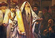 Obraz zatytułowany Simchat Tora (heb. Rado¶ć Tory) namalowany został przez Tadeusza Popiela pod koniec XIX w.  Autor, znany z akademickich przedstawień o tematyce religijnej i historycznej uk